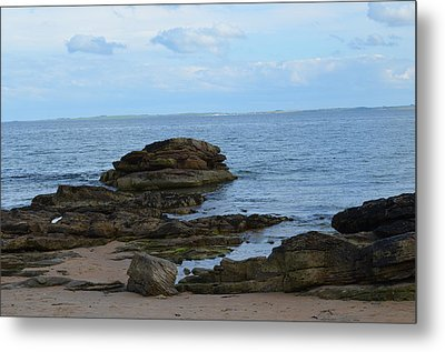 Metal Print featuring the photograph North Sea By The Rocks by Karen Kersey