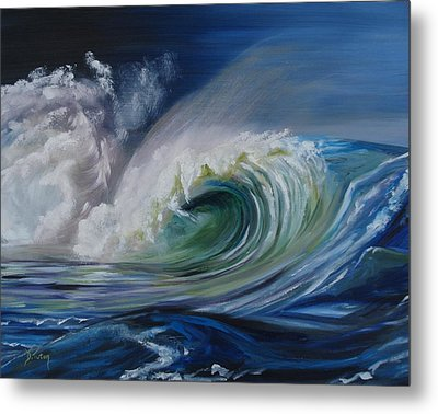 Metal Print featuring the painting North Shore Curl by Donna Tuten