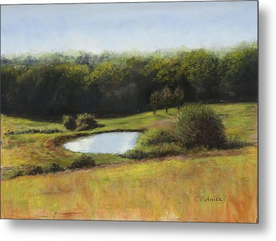 Metal Print featuring the pastel North St. Upton Ma by Cindy Plutnicki