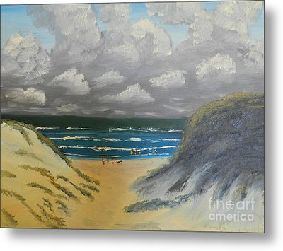 Metal Print featuring the painting North Windang Beach by Pamela  Meredith