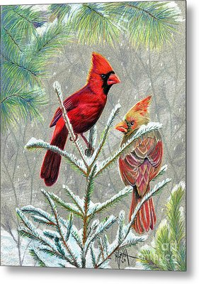 Northern Cardinals Metal Print by Marilyn Smith