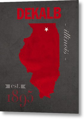 Northern Illinois University Huskies Dekalb Illinois College Town State Map Poster Series No 079 Metal Print