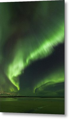Northern Lights Lofoten Islands Norway Metal Print by Sandra Schaenzer
