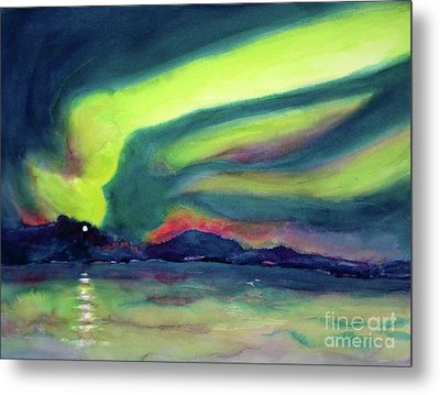 Northern Lights On Superior Shores Metal Print by Kathy Braud