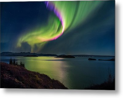 Northern Lights Over Thingvallavatn Or Metal Print