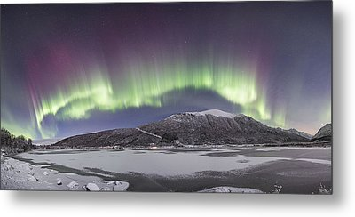Northern Lights Panoramic Metal Print