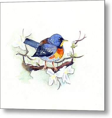 Metal Print featuring the painting Northern Parula by Katherine Miller