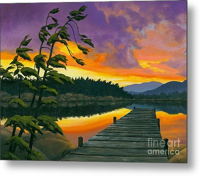 Metal Print featuring the painting After Glow - Oil / Canvas by Michael Swanson