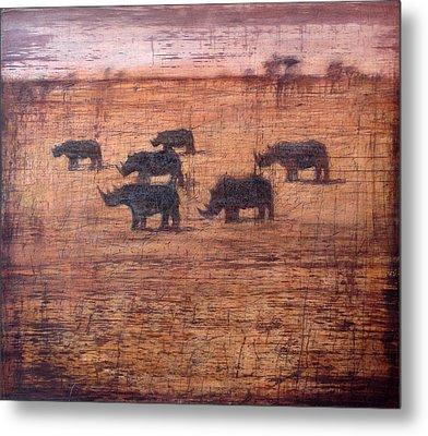 Northern White Rhinoceros, 2008 Oil On Board Metal Print by Charlie Baird