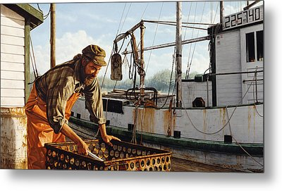 Northwest Fisherman Metal Print by Ron Crabb