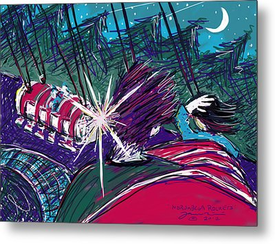 Metal Print featuring the painting Norumbega Rockets by Jean Pacheco Ravinski