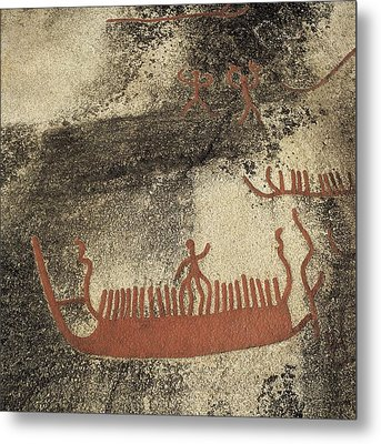 Norway. Begby. Boats 1000 Bc. Bronze Metal Print by Everett