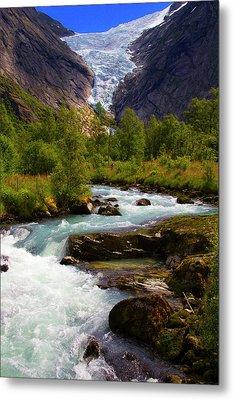 Norway Briksdal Glacier And River Metal Print by Kymri Wilt
