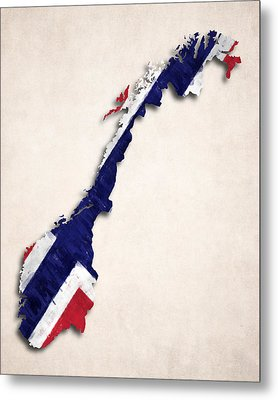 Norway Map Art With Flag Design Metal Print by World Art Prints And Designs