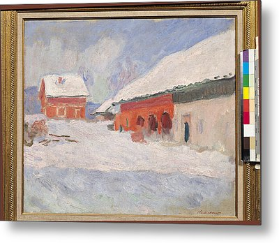 Norway, Red Houses At Bjornegaard, 1895 Oil On Canvas Metal Print
