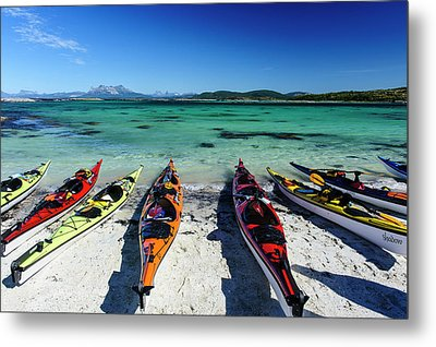 Norway Sea Kayaks On A Coral-sand Beach Metal Print by Fredrik Norrsell