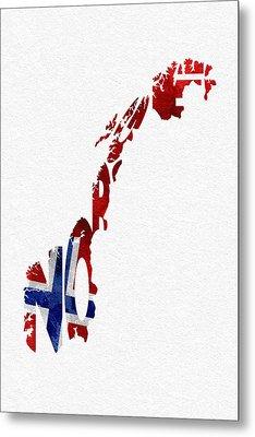 Norway Typographic Map Flag Metal Print by Ayse Deniz