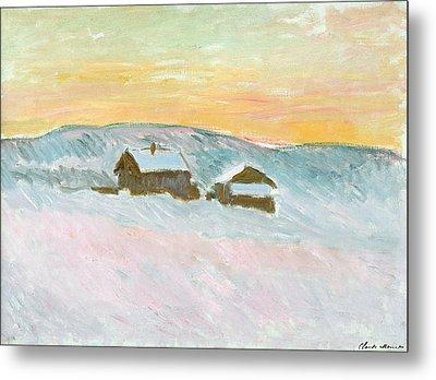 Norwegian Landscape, Blue Houses, 1895 Metal Print by Claude Monet