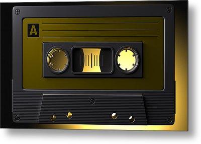 Nostalgic Macro Cassette Tape Metal Print by Allan Swart