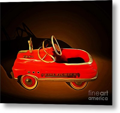 Nostalgic Vintage Toy Fire Engine 20150228 Metal Print by Wingsdomain Art and Photography