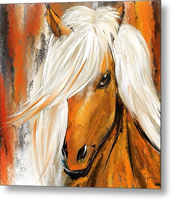 Not Your Ordinary- Colorful Horse- White And Brown Paintings Metal Print