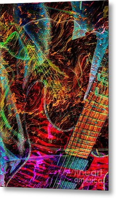 Notes On Fire Digital Guitar Art By Steven Langston Metal Print by Steven Lebron Langston