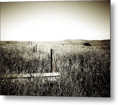 Nothing Here But Us Fence Posts Metal Print by Terry Eve Tanner