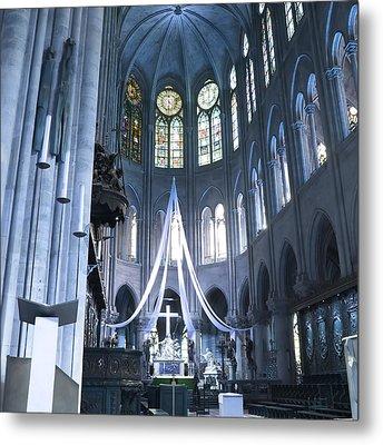 Notre Dame Altar Teal Paris France Metal Print
