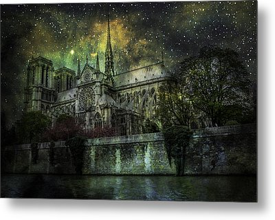 Notre Dame At Night Metal Print by James Bethanis