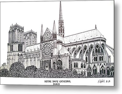 Notre Dame Cathedral - Paris Metal Print by Frederic Kohli