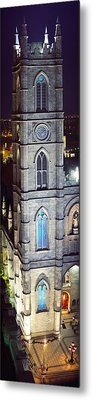 Notre Dame De Montreal At Night Metal Print by Panoramic Images