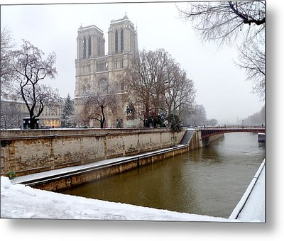 Notre Dame In Winter Metal Print by Amelia Racca