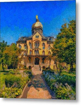 Notre Dame University Meets Van Gogh Metal Print by Dan Sproul