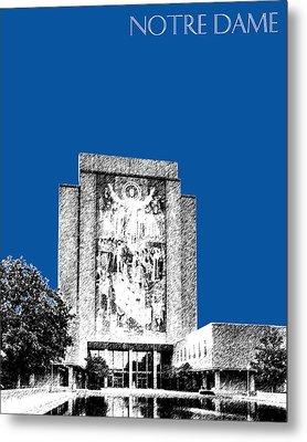 Notre Dame University Skyline Hesburgh Library - Royal Blue Metal Print by DB Artist