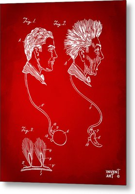 Novelty Wig Patent Artwork Red Metal Print by Nikki Marie Smith