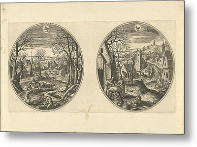 November And December, Adriaen Collaert, Hans Bol Metal Print by Adriaen Collaert And Hans Bol And Hans Van Luyck