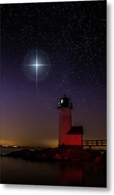 Star Over Annisquam Lighthouse Metal Print by Jeff Folger