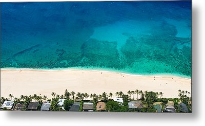 Pipeline Reef From Above Metal Print by Sean Davey
