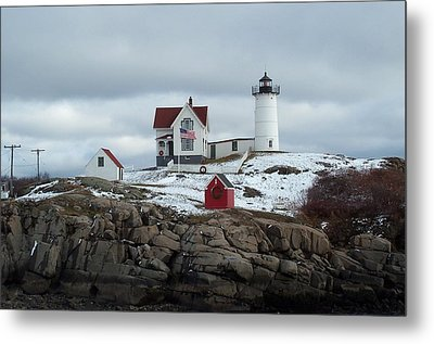 Metal Print featuring the photograph Nubble Light In December by Barbara McDevitt