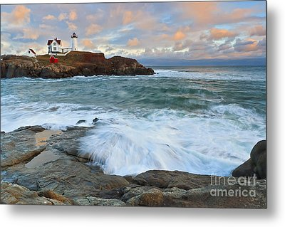 Nubble Light Sunset Metal Print by Katherine Gendreau