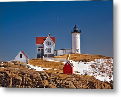 Nubble Lighthouse 3 Metal Print by Joann Vitali