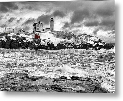 Nubble Lighthouse After The Storm Metal Print