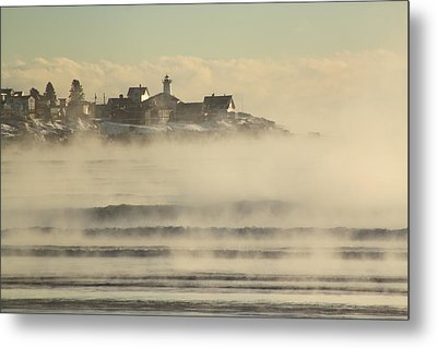 Nubble Lighthouse Cape Neddick Sea Smoke Metal Print by John Burk