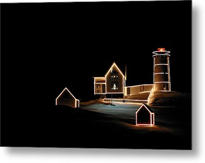 Nubble Lighthouse Christmas Lights Metal Print