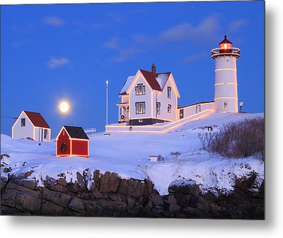 Nubble Lighthouse Full Moon And Holiday Lights Metal Print by John Burk