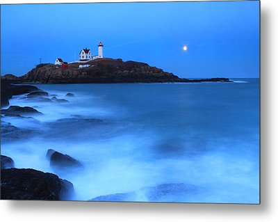 Nubble Lighthouse Full Moon Tide Metal Print by John Burk