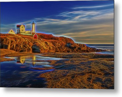 Nubble Lighthouse Neon Glow Metal Print by Susan Candelario