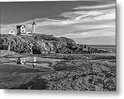 Nubble Lighthouse Reflections Bw Metal Print by Susan Candelario