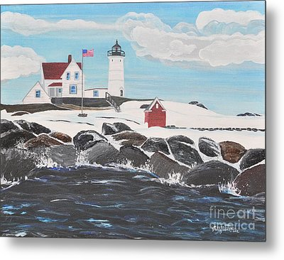 Nubble Lighthouse Metal Print by Sally Rice