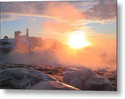 Nubble Lighthouse Sea Smoke Sunrise Fog Metal Print by John Burk